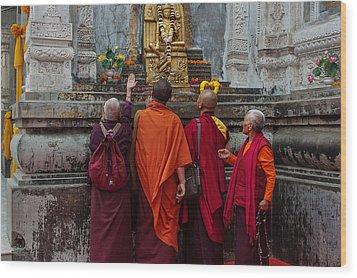 Seeking Blessings Of Budha Wood Print by Mukesh Srivastava