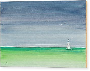 Seeking Refuge Before The Storm Alligator Reef Lighthouse Wood Print by Michelle Wiarda