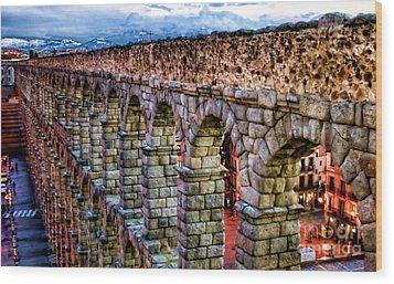 Segovia Aqueduct Spain By Diana Sainz Wood Print by Diana Sainz