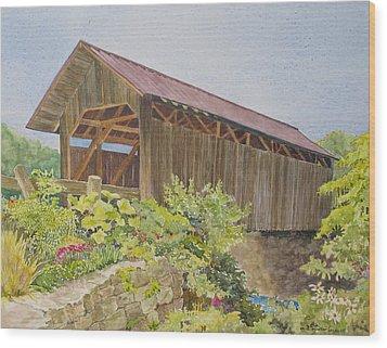 Seguin Covered Bridge In Charlotte Vermont Wood Print by Mary Ellen Mueller Legault