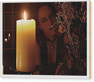 Selena Candle Light And Dead Roses Wood Print by Matt Nelson