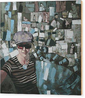 Wood Print featuring the painting Self by Anastasija Kraineva