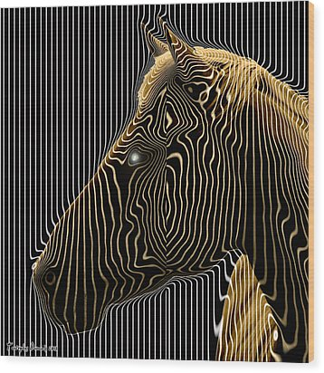 Self-conscious Attempt To Become Zebras.  2013  80/80 Cm.  Wood Print by Tautvydas Davainis