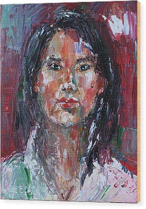 Self Portrait 2013 -2 Wood Print by Becky Kim