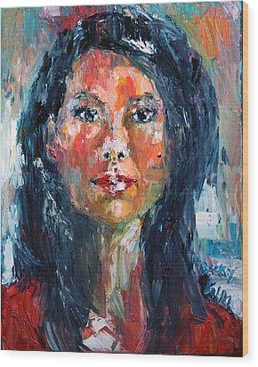 Self Portrait 2013 - 4 Wood Print by Becky Kim