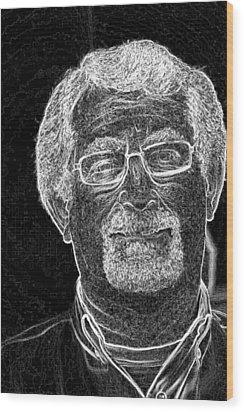 self portrait BW Wood Print by Gary Brandes