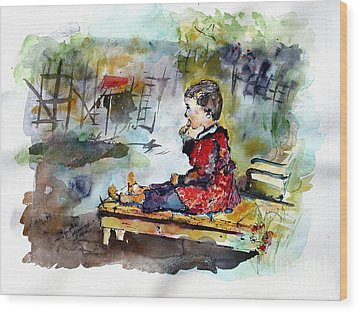 Self Portrait Childhood Wood Print by Ginette Callaway