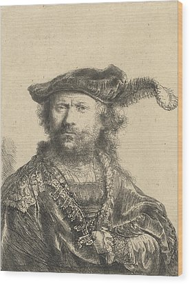 Self Portrait In A Velvet Cap With Plume Wood Print by Rembrandt