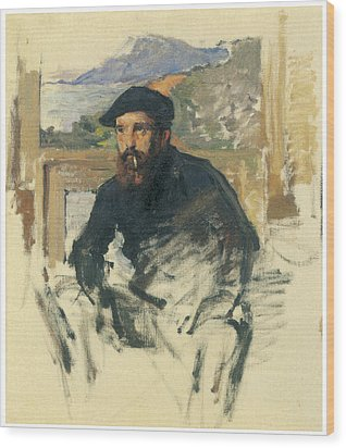 Self-portrait In His Atelier Wood Print by Claude Monet