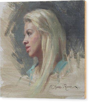 Self Portrait In Profile Wood Print by Anna Rose Bain