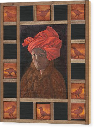 Self-portrait In The Red Turban Wood Print