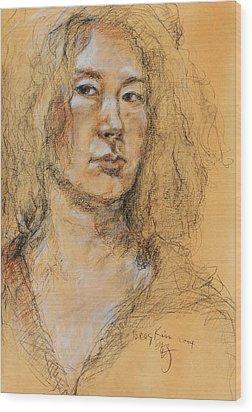 Self Portrait Of Becky Kim 2014 01 Wood Print by Becky Kim