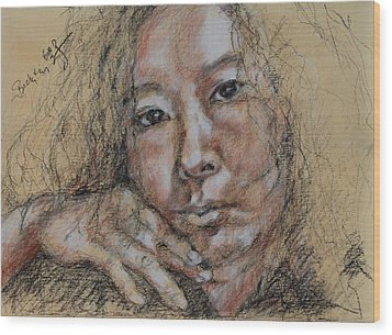 Self Portrait Of Becky Kim 2014 02 Wood Print by Becky Kim