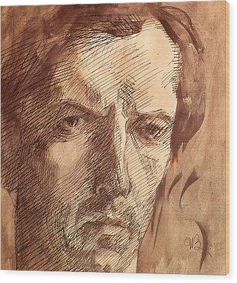 Self Portrait Wood Print by Umberto Boccioni