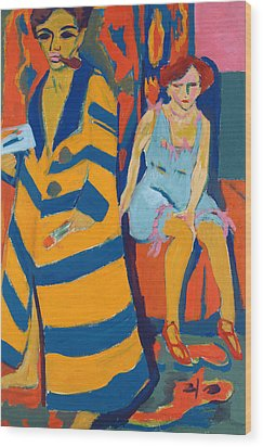 Self Portrait With A Model Wood Print by Ernst Ludwig Kirchner