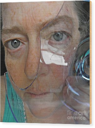 Self Portrait With Broken Glass Wood Print by Sarah Loft
