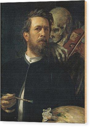 Self Portrait With Death Wood Print by Arnold Bocklin