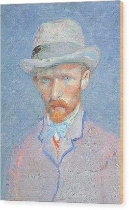 Self-portrait With Gray Felt Hat Wood Print by Vincent van Gogh