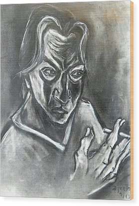 Wood Print featuring the drawing Self-portrait With Hand Holding Cigarette by Kenneth Agnello