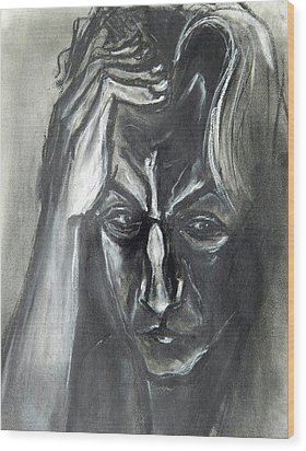 Wood Print featuring the drawing Self-portrait With Hand On Head - 1983 by Kenneth Agnello