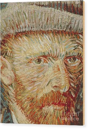 Self-portrait With Hat Wood Print by Vincent van Gogh
