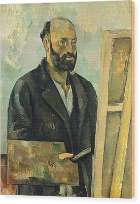 Self Portrait With Palette Wood Print by Paul Cezanne