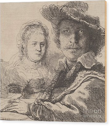 Self Portrait With Saskia Wood Print by Rembrandt