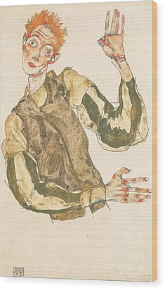 Self Portrait With Striped Armlets Wood Print by Pg Reproductions