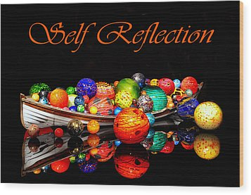 Self Reflection Wood Print by Kelly Reber