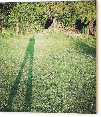 Selfie Shadow Wood Print by Les Cunliffe