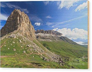 Wood Print featuring the photograph Sella Mountain And Pordoi Pass by Antonio Scarpi