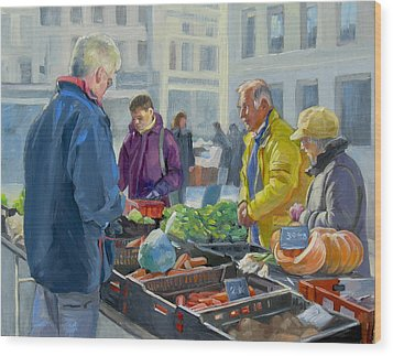 Selling Vegetables At The Market Wood Print by Dominique Amendola