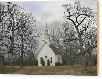 Wood Print featuring the photograph Selma United Methodist Church In Winter by Robert Camp