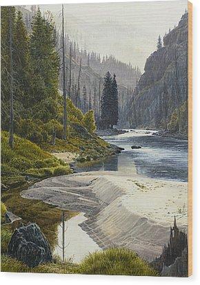 Selway River Wood Print by Steve Spencer