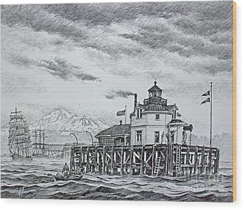 Semiahmoo Lighthouse - Drawing Wood Print by James Williamson
