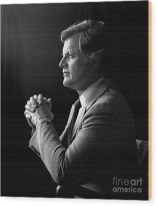 Wood Print featuring the photograph Senator Edward Ted Kennedy 1976 by Martin Konopacki Restoration
