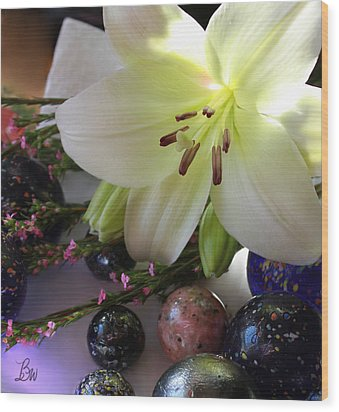 Wood Print featuring the photograph Send The Light Lily With Marbles by Bonnie Willis