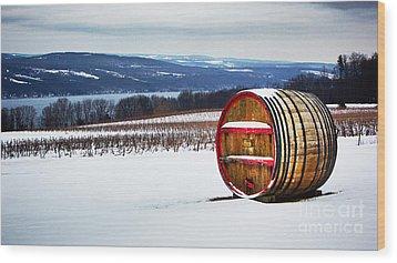 Seneca Lake Winery In Winter Wood Print