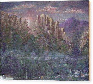 Seneca Sunrise Wood Print by Bruce Schrader