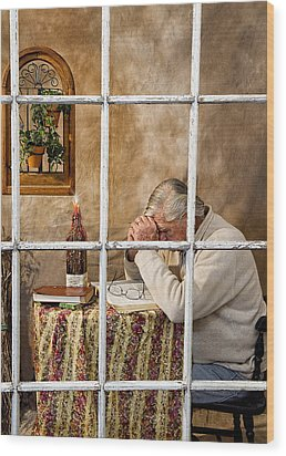 Senior Male Praying Wood Print by Trudy Wilkerson