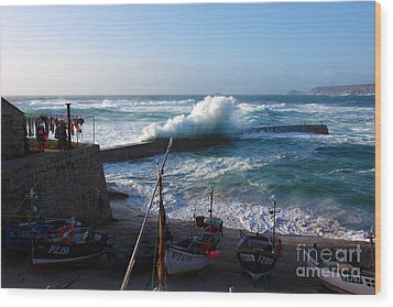 Sennen Cove Harbour Cornwall Wood Print by Terri Waters