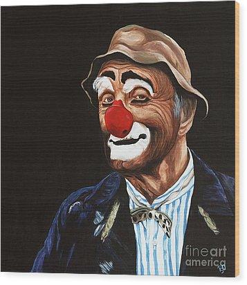 Senor Billy The Hobo Clown Wood Print by Patty Vicknair