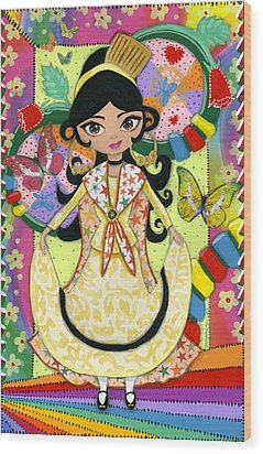 Senorita Of The Butterflies Wood Print by Jacquelin Vanderwood