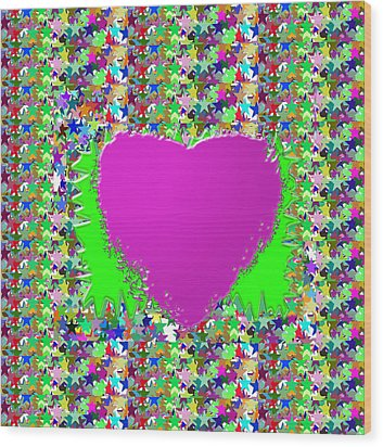 Wood Print featuring the photograph Sensual Pink Heart N Star Studded Background by Navin Joshi