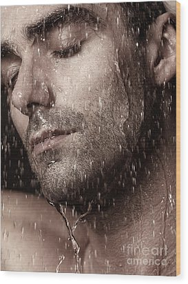 Sensual Portrait Of Man Face Under Pouring Water Wood Print by Oleksiy Maksymenko
