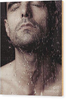 Sensual Portrait Of Man Face Under Shower Wood Print by Oleksiy Maksymenko