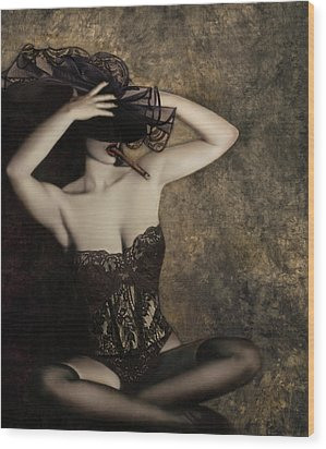 Sensuality In Sepia - Self Portrait Wood Print by Jaeda DeWalt