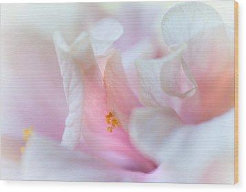 Sensuality. Peach Hibiscus. Macro Wood Print by Jenny Rainbow