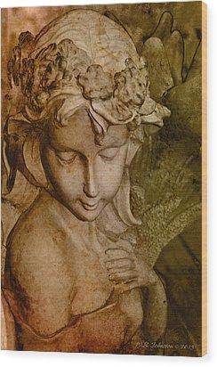 Sepia Angel Wood Print by WB Johnston