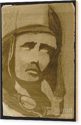 Sepia Aviator Wood Print by Diane Phelps